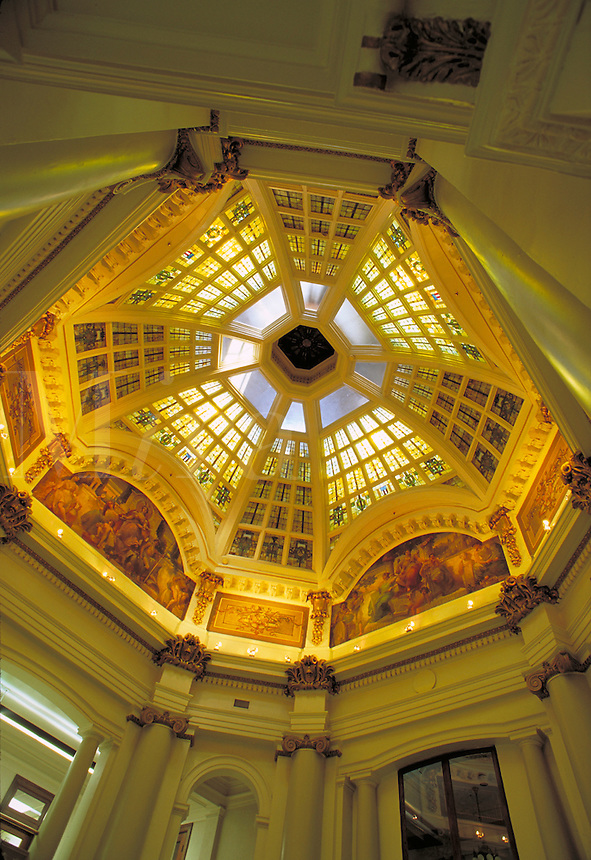 Interior of the dome of the Monroe County Courthouse, completed in 1908, in Bloomington, Indiana. Bloomington Indiana.