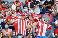 BARRANQUILLA - COLOMBIA, 18-09-2021: Atlético Junior  y Atlético Nacional en partido por la fecha 10 como parte de la Liga BetPlay DIMAYOR II 2021 jugado en el estadio Metropolitano Roberto Meléndez de la ciudad de Barranquilla. / Atletico Junior and Atletico Nacional in match for the date 10 as part of the BetPlay DIMAYOR League II 2021 played at Metropolitano Roberto Melendez stadium in Barranquilla city. Photo: VizzorImage / Jairo Cassiani / Contribuidor