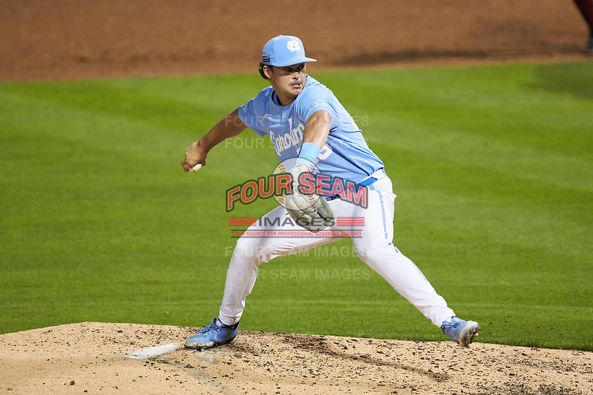 North Carolina Tar Heels relief pitcher Nik Pry (36) in action against the South Carolina Gamecocks at Truist Field on April 6, 2021 in Charlotte, North Carolina. (Brian Westerholt/Four Seam Images)