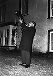 Bainbridge Horn Blower, Bainbridge Yorkshire Uk 1974<br /> Blowing the horn at ten o'clock every night from Holyrood (Sept. 27th) to Shrovetide (the day before Ash Wednesday), as a guide to belated travellers.