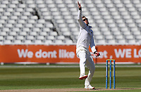 Danny Briggs of Warwickshire in bowling action during Warwickshire CCC vs Essex CCC, LV Insurance County Championship Group 1 Cricket at Edgbaston Stadium on 22nd April 2021
