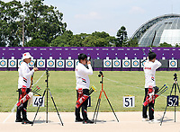 20th July 2021, TOKYO, JAPAN:  Wei Shaoxuan, Wang Dapeng and Li Jialun of the Chinese mens archery team attend a training session ahead of the Tokyo 2020 Olympic Games, at the Yumenoshima Park Archery Field in Tokyo