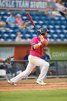 Pensacola Blue Wahoos Alex Kirilloff (19) at bat during a Southern League game against the Mobile BayBears on July 25, 2019 at Blue Wahoos Stadium in Pensacola, Florida.  Pensacola defeated Mobile 2-1 in the first game of a doubleheader.  (Mike Janes/Four Seam Images)