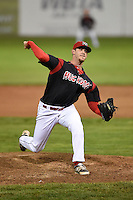 Batavia Muckdogs pitcher Josh Hodges (44) delivers a pitch during a game against the Mahoning Valley Scrappers on August 22, 2014 at Dwyer Stadium in Batavia, New York.  Mahoning Valley defeated Batavia 2-1.  (Mike Janes/Four Seam Images)