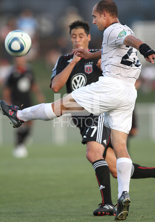 Anthony Calvano #23 of the Harrisburg City Islanders during a US Open Cup match against D.C. United at the Maryland Soccerplex on July 21 2010, in Boyds, Maryland .United won 2-0.