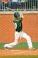 Justin Seager (10) of the Charlotte 49ers follows through on his swing against the Virginia Commonwealth Rams at Robert and Mariam Hayes Stadium on March 30, 2013 in Charlotte, North Carolina.  The 49ers defeated the Rams 9-8 in game one of a double-header.  (Brian Westerholt/Four Seam Images)