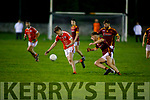 Brosna's Kieran O'Donnell about to kick under pressure from  Anthony Maher of Duagh in the North Kerry Senior Football Championship on Friday in Listowel