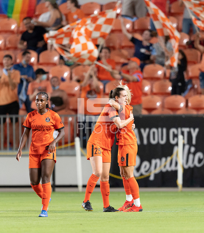 HOUSTON, TX - SEPTEMBER 10: Rachel Daly #3 of the Houston Dash celebrates her goal in the first half with Katie Naughton #25 during a game between Chicago Red Stars and Houston Dash at BBVA Stadium on September 10, 2021 in Houston, Texas.
