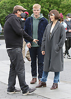 NEW YORK, NY - MAY 4: Chris Long director, Tom Rhys Harries, Elizabeth Henstridge on the set of the new Apple Tv series Suspicion at Washington Square Park in New York City on May 04, 2021. <br /> CAP/MPI/RW<br /> ©RW/MPI/Capital Pictures
