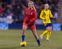 COLUMBUS, OH - NOVEMBER 07: Lindsey Horan #9 of the United States dribbles during a game between Sweden and USWNT at Mapfre Stadium on November 07, 2019 in Columbus, Ohio.
