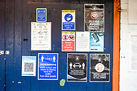 9th January 2021; Kenilworth Road, Luton, Bedfordshire, England; English FA Cup Football, Luton Town versus Reading; Signs relevant to the current corona virus pandemic.