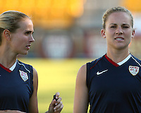 Heather Mitts #2 and Amy Rodriguez #8 of the USA WNT during an international friendly match against the PRC WNT at KSU Soccer Stadium, on October 2 2010 in Kennesaw, Georgia.USA won 2-1.