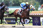 August 2, 2015.  Power of Snunner (#2), Matthew Rispoli up, races in the Lady's Secret Stakes, one mile 70 yards for fillies and mares three and upwards at Monmouth Park in Oceanport, NJ.  Joan Fairman Kanes/ESW/CSM