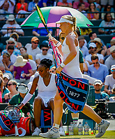 London, England, 6 th. July, 2018, Tennis,  Wimbledon, Womans singel third round,  Venus Williams (USA) is passed by in her match against Kiki Bertens (NED) (R)<br /> Photo: Henk Koster/tennisimages.com