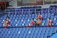 BARRANQUIILLA - COLOMBIA, 25-04-2021: Atlético Junior e Independiente Santa Fe en partido por los cuartos de final, ida, como parte de la Liga BetPlay DIMAYOR I 2021 jugado en el estadio Metropolitano Roberto Meléndez de la ciudad de Barranquilla. / Atletico Junior and Independiente Santa Fe in match for the quarterfinal first leg as part of BetPlay DIMAYOR League I 2021 played at Metropolitano Roberto Melendez stadium in Barranquilla city. Photo: VizzorImage / Jesus Rico / Cont