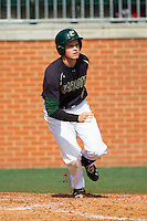 Brett Lang (6) of the Charlotte 49ers starts down the first base line against the Canisius Golden Griffins at Hayes Stadium on February 23, 2014 in Charlotte, North Carolina.  The Golden Griffins defeated the 49ers 10-1.  (Brian Westerholt/Four Seam Images)