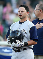 Charlotte Knights Second Baseman Luis Rodriguez (6) stands for the national anthem during a game vs. the Rochester Red Wings at Frontier Field in Rochester, New York;  June 17, 2010.   Charlotte defeated Rochester by the score of 9-2.  Photo By Mike Janes/Four Seam Images
