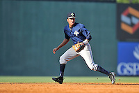 Shortstop Milton Ramos (7) of the Columbia Fireflies plays defense in a game against the Greenville Drive on Sunday, May 8, 2016, at Fluor Field at the West End in Greenville, South Carolina. Greenville won, 5-4. (Tom Priddy/Four Seam Images)