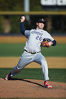 Richmond Spiders relief pitcher Will Geraghty (26) in action against the Wake Forest Demon Deacons at David F. Couch Ballpark on March 6, 2016 in Winston-Salem, North Carolina.  The Demon Deacons defeated the Spiders 17-4.  (Brian Westerholt/Four Seam Images)