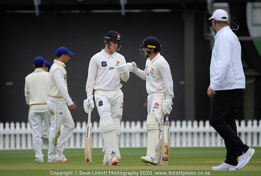 Finn Allen and Tom Blundell during day three of the Plunket Shield match between the Wellington Firebirds and Otago Volts at Basin Reserve in Wellington, New Zealand on Saturday, 7 November 2020. Photo: Dave Lintott / lintottphoto.co.nz