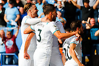 11th September 2021; King Power Stadium, Leicester, Leicestershire, England;  Premier League Football, Leicester City versus Manchester City; Manchester City players celebrate Bernado Silva's goal after 62 minutes (0-1)