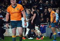 NZ's Damien McKenzie celebrates his try during the Bledisloe Cup rugby match between the New Zealand All Blacks and Australia Wallabies at Eden Park in Auckland, New Zealand on Saturday, 7 August 2021. Photo: Dave Lintott / lintottphoto.co.nz