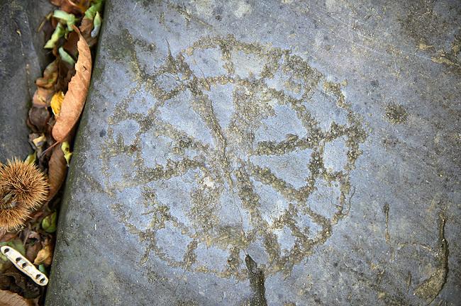 Petroglyph, rock carving, of a geometric design carved by the ancient Camuni people in the iron age between  900-1200 BC. Rock 26-27, Foppi di Nadro, Riserva Naturale Incisioni Rupestri di Ceto, Cimbergo e Paspardo, Capo di Ponti, Valcamonica (Val Camonica), Lombardy plain, Italy