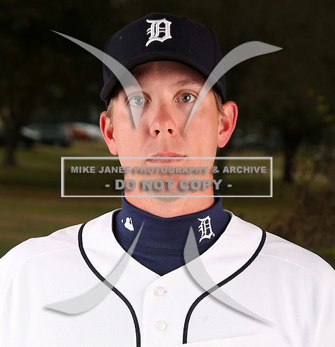 February 27, 2010:  Outfielder Clete Thomas (34) of the Detroit Tigers poses for a photo during media day at Joker Marchant Stadium in Lakeland, FL.  Photo By Mike Janes/Four Seam Images