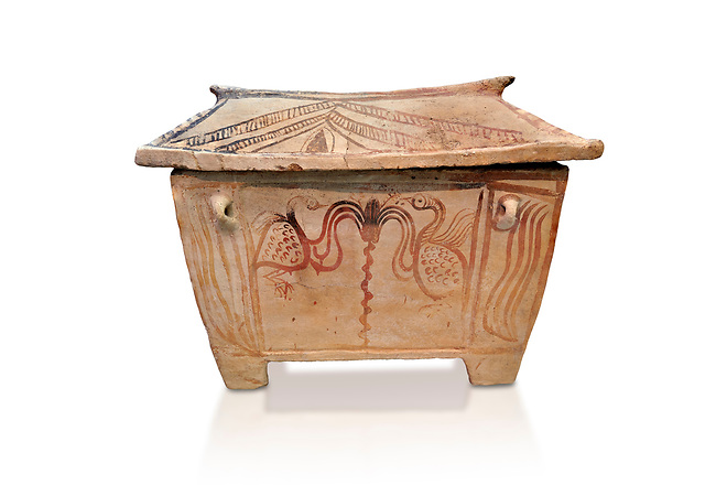 Minoan  pottery gabled larnax coffin chest with bird and floral decorations,   1370-1250 BC, Heraklion Archaeological  Museum, white background.