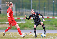 Marie Bougard (10) of Woluwe pictured with Sheryl Merchiers (11) of Zulte-Waregem during a female soccer game between FC Femina White Star Woluwe and SV Zulte Waregem on the fifth matchday of play off 2 in the 2020 - 2021 season of Belgian Scooore Womens Super League , Saturday 8 th of May 2021  in Woluwe , Belgium . PHOTO SPORTPIX.BE   SPP   DAVID CATRY