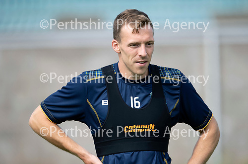 St Johnstone Training….23.07.18<br />David McMillan pictured during training at McDairmid Park this morning ahead of tomorrow night's Betfred cup game against Falkirk.<br />Picture by Graeme Hart.<br />Copyright Perthshire Picture Agency<br />Tel: 01738 623350  Mobile: 07990 594431
