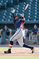 Center fielder Cristian Pache (25) of the Rome Braves bats in game one of a doubleheader against the Columbia Fireflies on Saturday, August 19, 2017, at Spirit Communications Park in Columbia, South Carolina. Rome won, 8-2. (Tom Priddy/Four Seam Images)