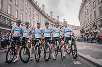 Team SKY posing for a group shot in Regent Street after finishing with 6 at their home race: Chris Froome (GBR/SKY), Geraint Thomas (GBR/SKY), Ian Stannard (GBR/SKY), Wout Poels (NED/SKY), Vasil Kiryienka (BLR/SKY) & Lukasz Wiśniowski (POL/SKY)<br /> <br /> Stage 8: London to London (77km)<br /> 15th Ovo Energy Tour of Britain 2018