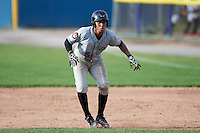 Hudson Valley Renegades catcher Jose Rojas (5) leads off first base during a game against the Batavia Muckdogs on July 31, 2016 at Dwyer Stadium in Batavia, New York.  Hudson Valley defeated Batavia 4-1.  (Mike Janes/Four Seam Images)