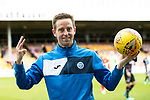 Motherwell v St Johnstone…05.05.18…  Fir Park    SPFL<br />Steven MacLean in his last game for saints celebrates his hat trick at full time<br />Picture by Graeme Hart. <br />Copyright Perthshire Picture Agency<br />Tel: 01738 623350  Mobile: 07990 594431