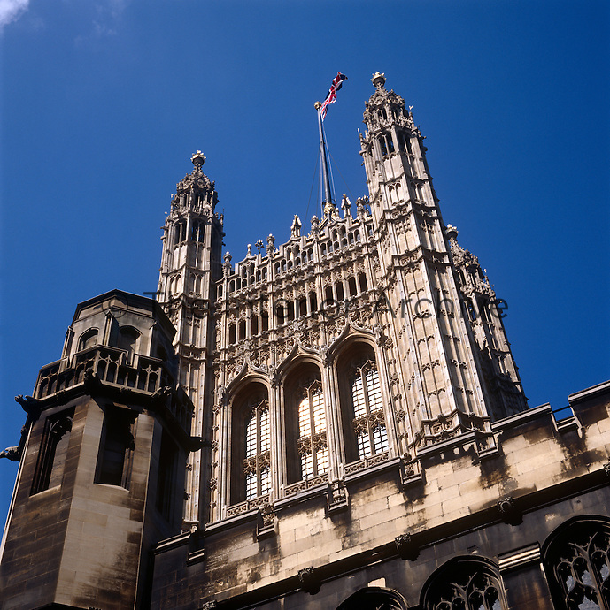 The Victorian, gothic magnificence of the Victoria Tower at the House of Lords