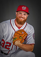 22 February 2019: Washington Nationals pitcher Aaron Barrett poses for his Photo Day portrait at the Ballpark of the Palm Beaches in West Palm Beach, Florida. Mandatory Credit: Ed Wolfstein Photo *** RAW (NEF) Image File Available ***