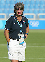 14 August 2004:   USA Head Coach April Heinrichs during practice before the game against Brazil at Kaftanzoglio Stadium in Thessaloniki, Greece.   USA defeated Brazil, 2-0. Credit: Michael Pimentel / ISI