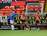 13.12.2020 Dundee Utd v Rangers: Dundee Utd's Liam Smith celebrates as he beats Rangers goalkeeper Allan McGregor