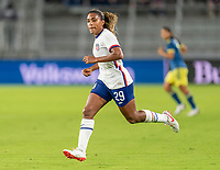 ORLANDO, FL - JANUARY 22: Catarina Macario #29 of the USWNT sprints during a game between Colombia and USWNT at Exploria stadium on January 22, 2021 in Orlando, Florida.