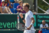 Moscow, Russia, 15 th July, 2016, Tennis,  Davis Cup Russia-Netherlands, Second rubber: Thiemo de Bakker (NED) takes the first set!<br /> Photo: Henk Koster/tennisimages.com