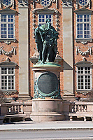 Riddarhuset, House of the Nobility, 17th century in Gamla Stan, Old Town. Statue of the king Gustav Vasa (G. I, G. Eriksson). Stockholm. Sweden, Europe.