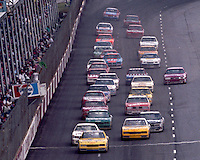 Dale Earnhardt leads the field down for a restart at Darlington in September 1987. (Photo by Brian Cleary/www.bcpix.com)