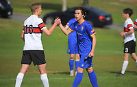 Action from the 1st XI football match between Scots College and Tawa College at Scots College in Wellington, New Zealand on Saturday, 8 May 2021. Photo: Dave Lintott / lintottphoto.co.nz