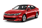 2018 KIA Optima EX-Hybrid 4 Door Sedan Angular Front stock photos of front three quarter view