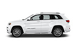 Car Driver side profile view of a 2017 JEEP Grand-Cherokee Summit 5 Door SUV Side View