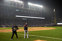 Cleveland Indians starting pitcher Corey Kluber (28) walks to the outfield to warmup before Game 4 of the Major League Baseball World Series against the Chicago Cubs on October 29, 2016 at Wrigley Field in Chicago, Illinois.  (Mike Janes/Four Seam Images)