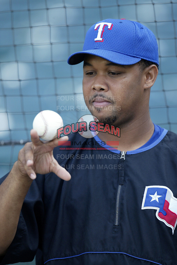 Francisco Cordero of the Texas Rangers before a 2002 MLB season game against the Los Angeles Angels at Angel Stadium, in Los Angeles, California. (Larry Goren/Four Seam Images)