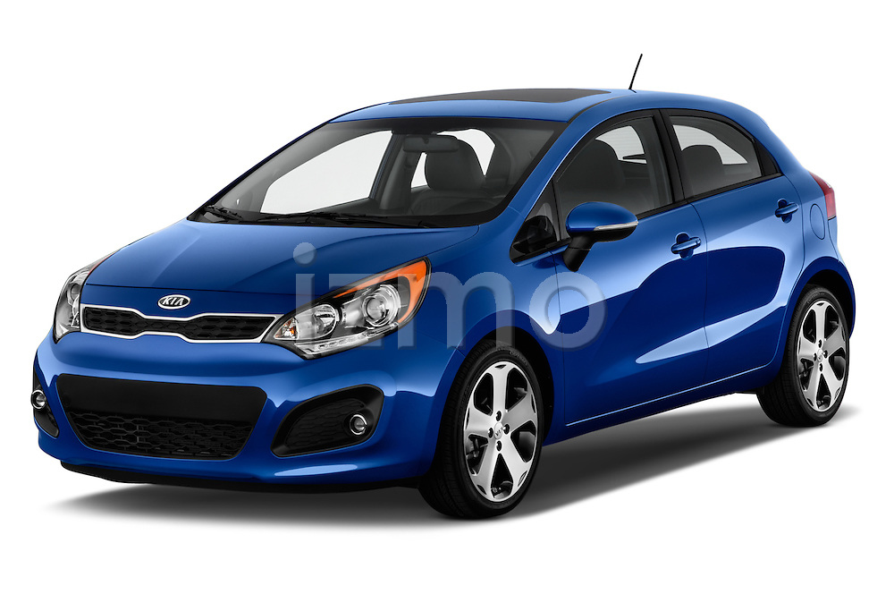 2015 KIA Rio AT SX 5 Door Hatchback 2WD Angular Front stock photos of front three quarter view