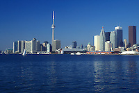 AJ0827, Canada, Ontario, Toronto, Downtown skyline of Toronto from the waters of Lake Ontario.
